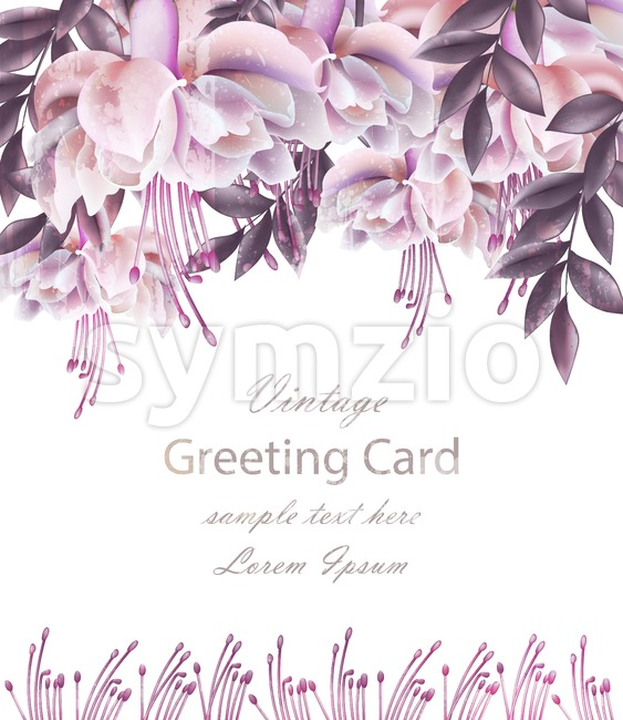 Vintage Wedding card with floral decor Vector. Beautiful flowers template. Spring Summer Invitation design realistic 3d illustration Stock Vector