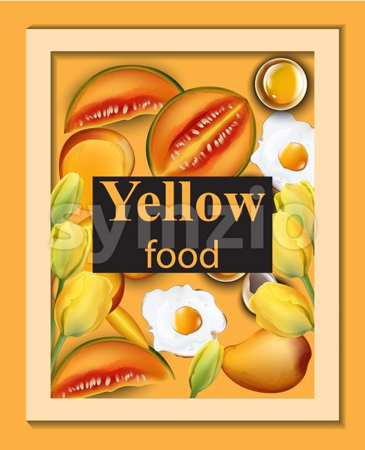 Yellow food set. Melon, eggs and fruits Vector illustration Stock Vector