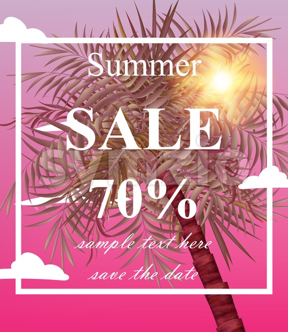 Summer sale card Vector. Palm tree pink background Stock Vector