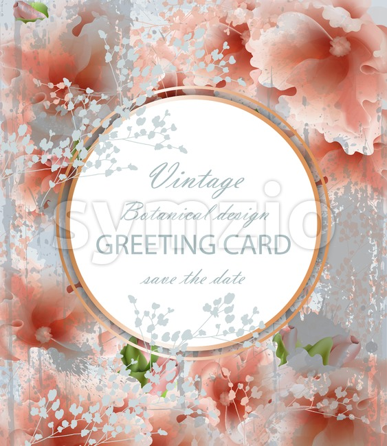 Greeting card with beautiful delicate pink flowers. Botanical detailed stylish card Stock Vector