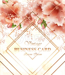 Business card with beautiful delicate pink flowers. Golden abstract frames stylish card Stock Vector