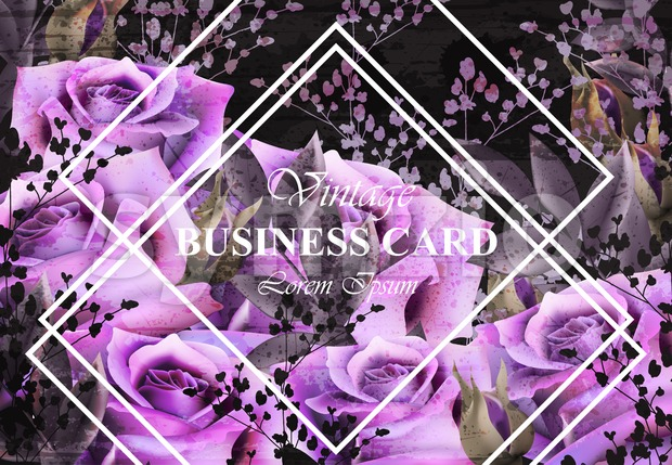 Vintage card with roses Vector. Realistic stylish purple roses. Business card template Stock Vector