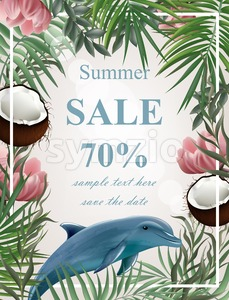 Summer sale card with palm tree, coconuts, dolphin Vector illustration Stock Vector