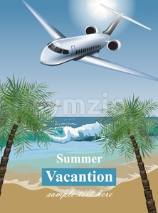 Summer Vacation card with tropic beach and a plane Vector. Travel card exotic destination template banner Stock Vector