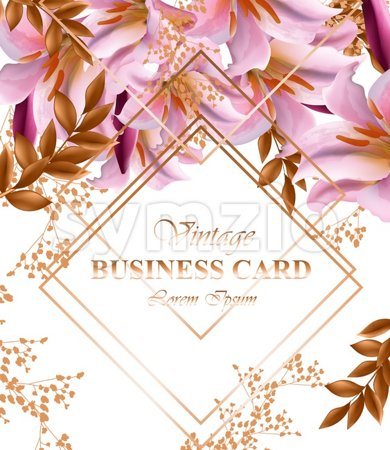 Business card with beautiful pink flowers. Golden abstract frames stylish card Stock Vector