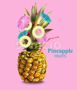 Pineapple fruit cocktail on pink background Vector illustration Stock Vector
