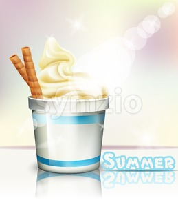 Ice cream Vector realistic. Summer delicious frozen yogurt. 3d detailed illustration Stock Vector