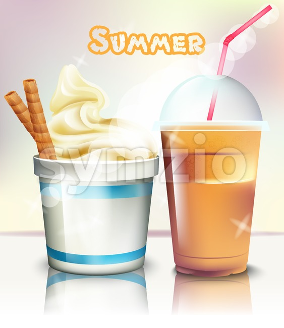 Ice cream and frappe Vector realistic. Summer delicious frozen yogurt and drink. 3d detailed illustration Stock Vector