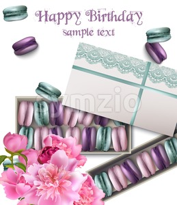 Happy birthday card with macaroons and peony flowers Vector illustration Stock Vector