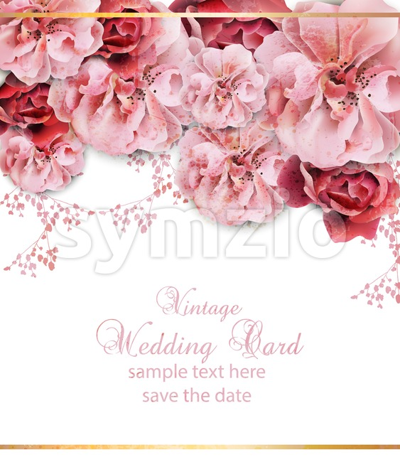 Wedding invitation with floral design Vector. Vintage Beautiful flowers poster. Trendy pink pastelate color Stock Vector