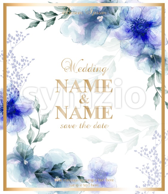 Wedding card with watercolor blue flowers Vector illustration. Beauty floral decor Stock Vector