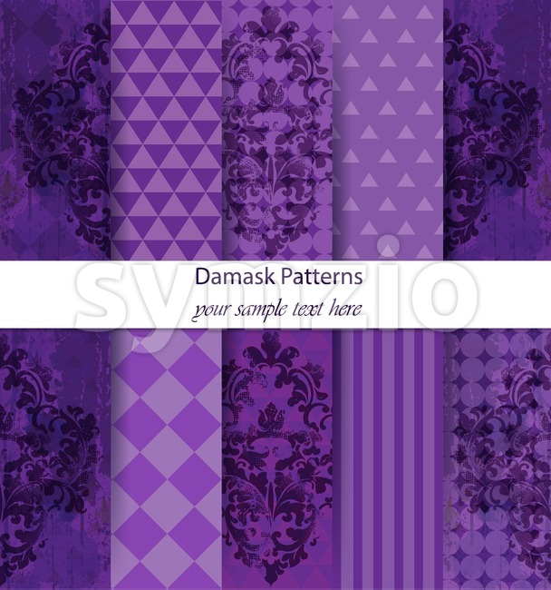 Damask patterns set collection Vector. Classic ornament various colors with abstract background textures. Vintage decor. Trendy color fabric Stock Photo