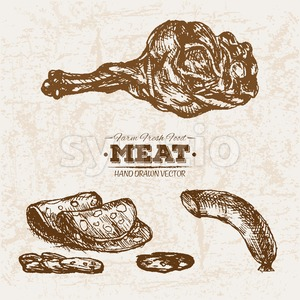 Hand drawn sketch meat products set, farm fresh food, black and white vintage illustration Stock Vector