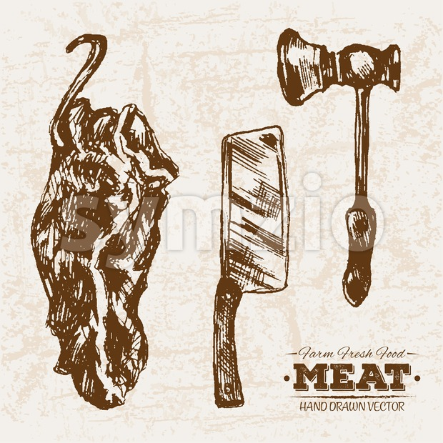 Hand drawn sketch meat products set, knife and hummer, farm fresh food, black and white vintage illustration Stock Vector