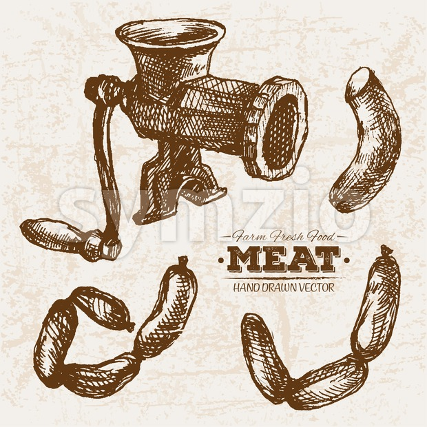 Hand drawn sketch meat products set and meat grinder, farm fresh food Stock Vector