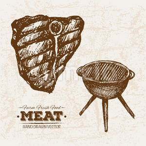 Hand drawn sketch bbq steak meat products grill set, farm fresh food, black and white vintage illustration Stock Vector