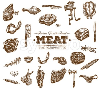 Collection 2 of hand drawn meat sketch, black and white vintage illustration Stock Vector