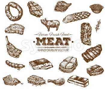 Collection 8 of hand drawn meat sketch, black and white vintage illustration Stock Vector