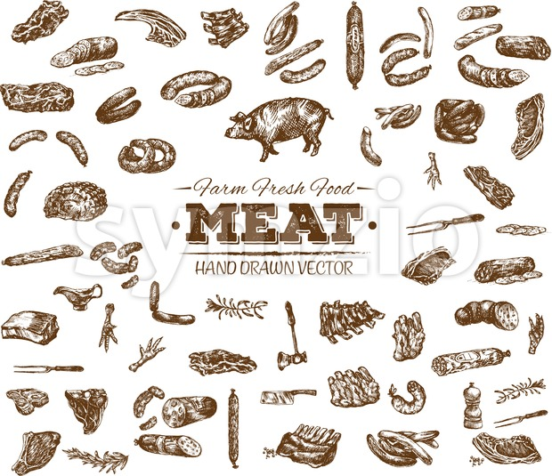 Collection 11 of hand drawn meat sketch, black and white vintage illustration Stock Vector