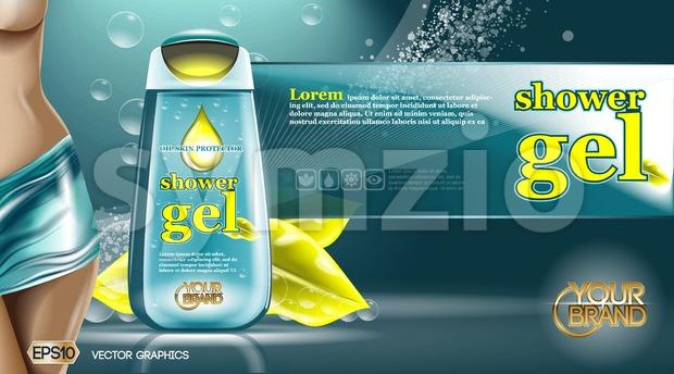 Digital vector aqua and yellow shower gel Stock Vector