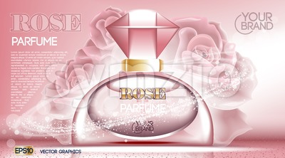 Perfume bottle Cosmetic ads template Stock Vector