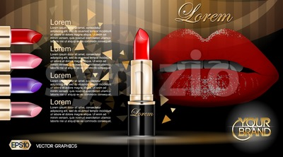 Makeup ads template. Colorful lipsticks mockup with sparkling background. Charming lips golden allure. 3d Vector illustration Stock Vector