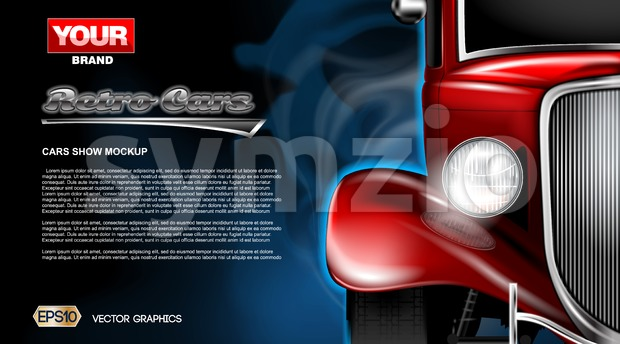 Digital vector red old retro car close up mockup, ready for print or magazine design. Your brand, auto show and exhibition, lights on. Black Stock Vector