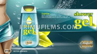 Digital vector aqua and yellow shower gel - frimufilms.com