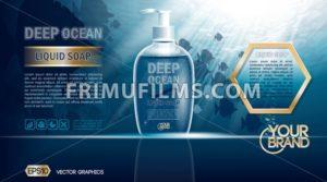 Digital vector blue deep ocean liquid soap mockup - frimufilms.com