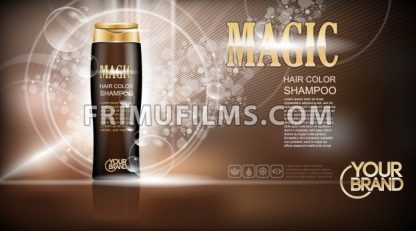 Digital vector brown magic shampoo mockup on light background, with your brand, ready for design. Liquid and bubbles, realistic style - frimufilms