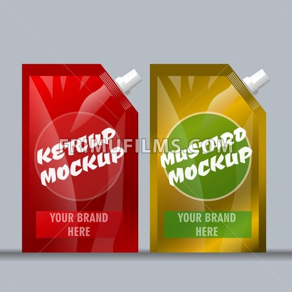 Digital vector red and brown ketchup and mustard - frimufilms.com