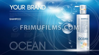 Digital vector silver shampoo mockup on blue - frimufilms.com