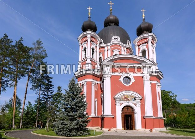 Orthodox Curchi monastery in Moldova with green trees and blue sky - frimufilms.com