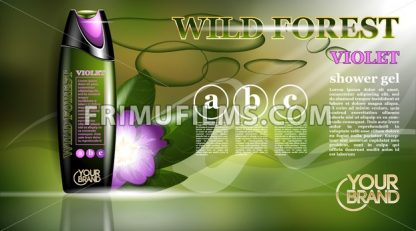Shower gel natural orchid flower or violet aroma ads template - frimufilms.com