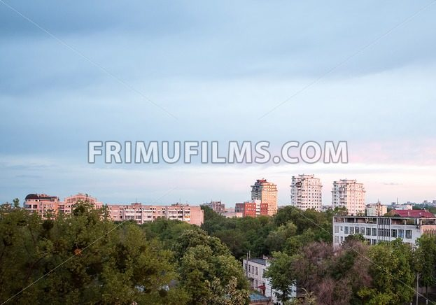 View on coliseum crown plaza at sunset in Chisinau city downtown, Moldova - frimufilms.com