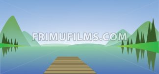 Abstract landscape with a river, wooden bridge and green fields - frimufilms.com