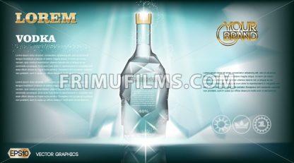 Digital vector aqua silver vodka bottle mockup - frimufilms.com