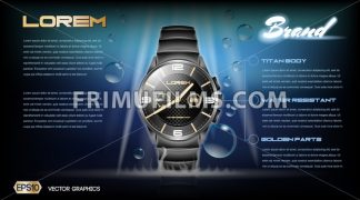 Digital vector dark silver classic watch mockup - frimufilms.com