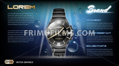 Digital vector dark silver classic watch mockup - frimufilms.com