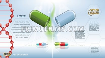 Digital vector green and blue medicine pill - frimufilms.com