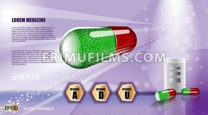 Digital vector green and red medicine vitamin pill - frimufilms.com