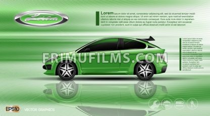 Digital vector green car with black windows mockup - frimufilms.com