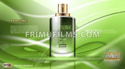 Digital vector green glass perfume for men - frimufilms.com