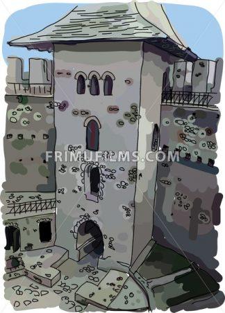 Digital vector painted Soroca Castle - frimufilms.com