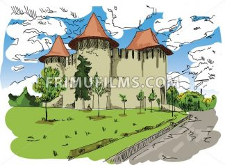 Digital vector painted Soroca Castle - frimufilms.com