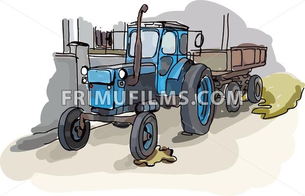 Digital vector painted old belarus tractor - frimufilms.com
