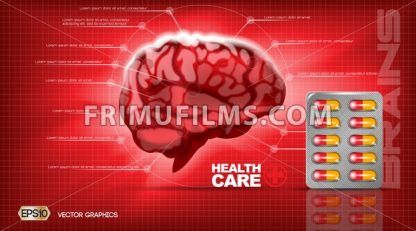 Digital vector red medicine brain structure - frimufilms.com