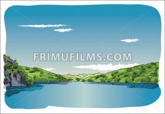 Digital vector sketch lake at transfagaras - frimufilms.com