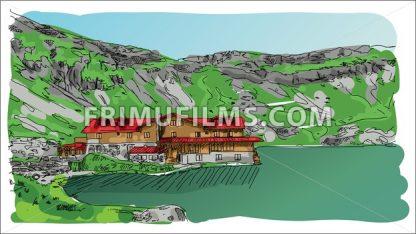 Digital vector sketch landscape lake - frimufilms.com