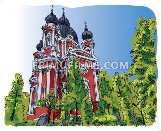 Digital vector sketch of curchi monastery - frimufilms.com